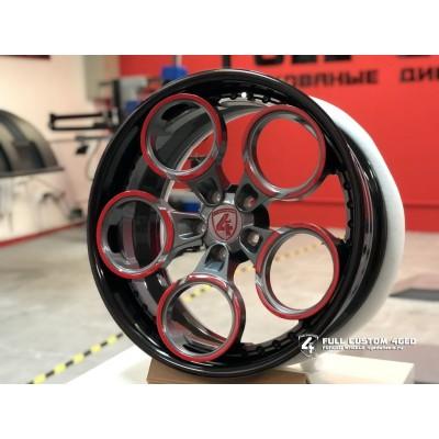 Кованый диск FC 4GED FC416 20x9/5x112 ET37 DIA57.1  black rim with grey red center арт. 5549